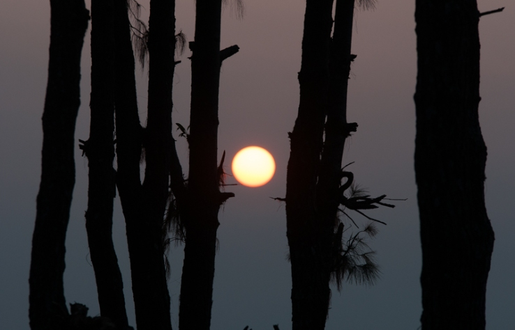 Sun Rises as a  Golden Orb above Pokhara Valley